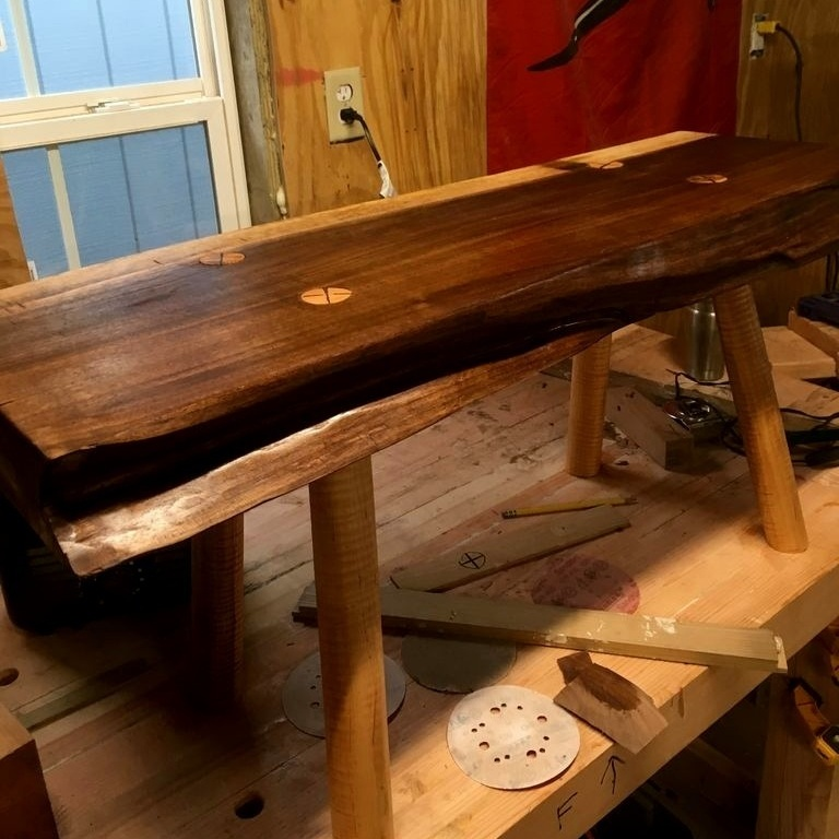 Live Edge Black Walnut and Curly Maple Sitting Bench.  Legs were shaped using hand tools.