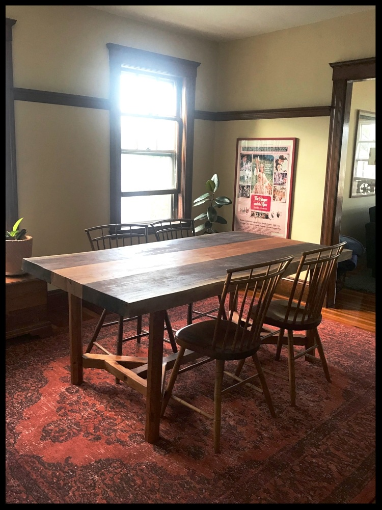 """Live Edge Black Walnut and Cherry Hayrake Dining Table (6.5' x 3' x 30"""", top is 3"""" thick)"""