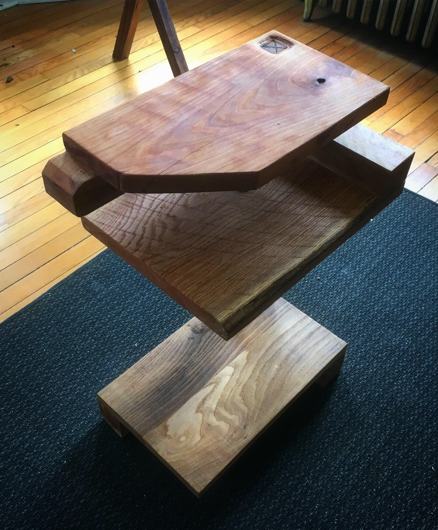 Modern Cherry and Oak Nightstand/End Table