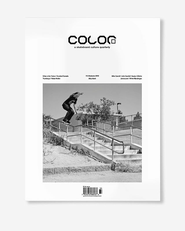 "This is it: Volume 11, Number 3 (autumn 2013)  Featuring ""competitive skateboarding at its most creative"", Riley Hawk, Nolan Waller, Krooked in Canada, Sitka skates the Yukon, White Mandingos, Austyn Gillette, John Cardiel, Mike Carroll, the Trunkboyz, Street Demon Crew and more.  96pp 70lb matte text, printed 4C offset, 9.25 x 11.75"", perfect bound with 120lb 4pp cover, coated one-side. 📱DM for deadstock👈 . . . . #color11point3 #colormagazine #skateordiy #restinprint #colorrip #skateboarding #art #fashion #style #film #music #skateculture #skateboardingculture #skateboardculture #skateart #canada #vancouver #sandrogrison #rileyhawk #sobeyfoundation #jamcouver #krookedkanada"