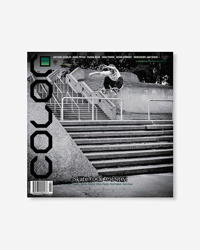 "Volume 9, Number 2 (summer 2011)  Featuring Antoine Asselin (cover + interview), Danny Fuenzalida (did you know he used to live in Canada?), 'Locals Only' an article with skater/musicians, artist Kevin Schmidt  144pp glossy, matte, and uncoated FSC Certified 70lb recycled text pages 9.75 x 9.75"" with 4pp 110lb cover with spot UV and zine insert /Kenny Anderson poster printed in Canada using vegetable based inks. 🔗Link in bio👈 . . . . #color9point2 #colormagazine #mattfrench #skateordiy #restinprint #colormag #colorrip #skateboarding #art #fashion #style #film #music #skateculture #skateboardingculture #skateboardculture #skateart #canada #vancouver #sandrogrison #danepryds #aaronsuski #peterramondetta #SandyPlotnikoff #JesseLanden #ReubenBullock #EthanFowler #softkill #BrendanFlanagan #dimemtl"