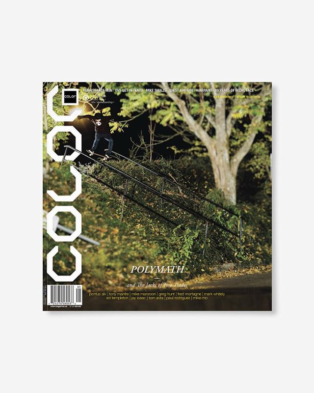 """Volume 8, Number 5 (winter 2010) Featuring the Polymath of skateboarding; including Pontus Alv, Mike Manzoori, and Greg Hunt. 10 Years of Fecal Face, A fashion editorial by Ed Templeton and so much more! 144pp glossy, matte, and uncoated FSC Certified 70lb recycled text pages 9.75 x 9.75"""" with 4pp 110lb uv gloss cover with collectable postcard printed in Canada using vegetable based inks. 🔗Link in bio👈 . . . . #color8point5 #colormagazine #skateordiy #restinprint #colormag #colorrip #skateboarding #art #fashion #style #film #music #skateculture #skateboardingculture #skateboardculture #skateart #canada #vancouver #sandrogrison #questforfire #fecalface #warpaint #mikeshulze #jayisaac #tomasta #alexolson #paulrodriguez #mikemo"""