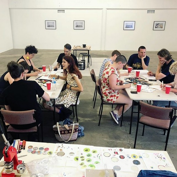 Personalised Badge-making Workshop , hosted at Outer Space Artist Run Initiative.  Photograph by Caity Reynolds.
