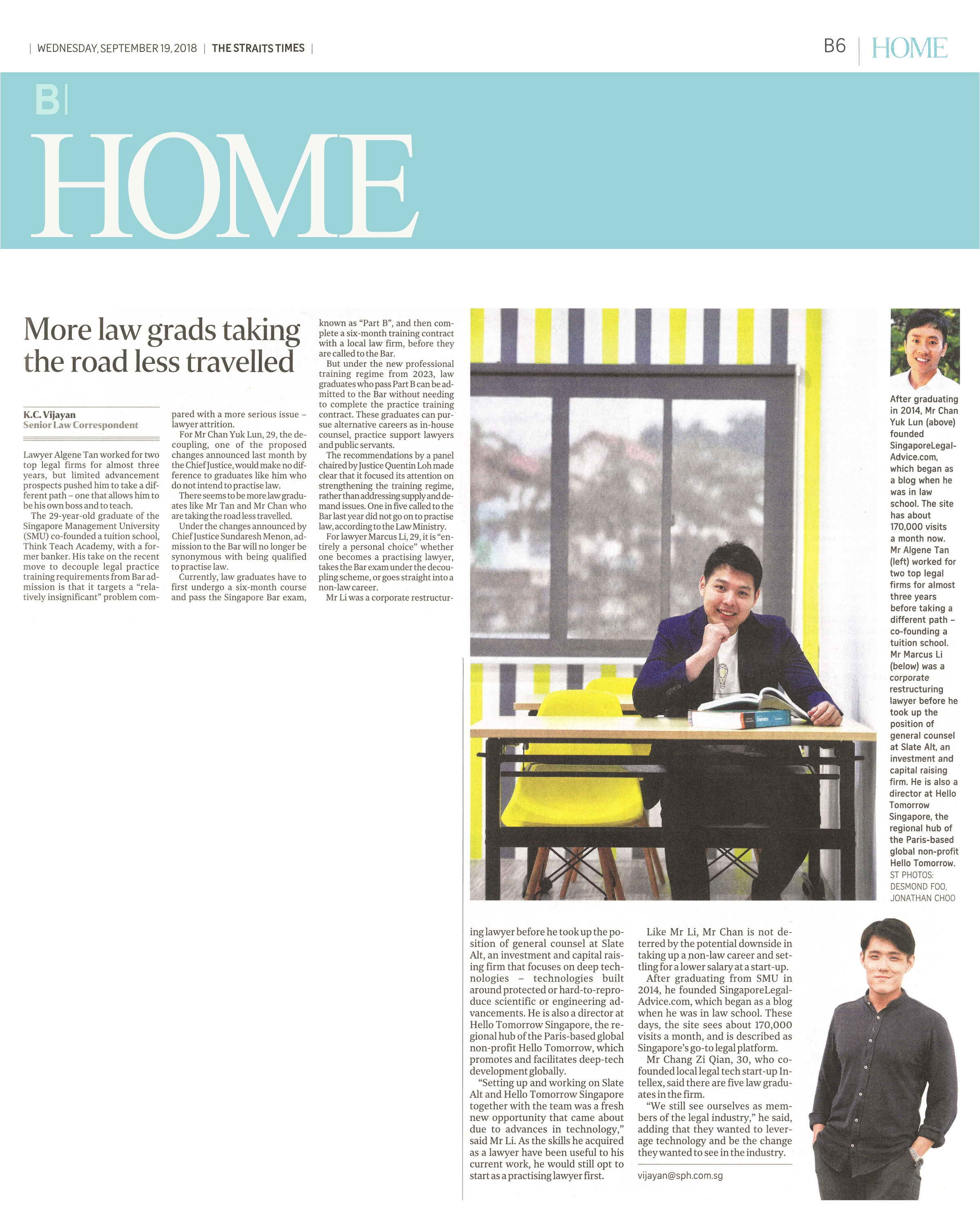 Co-founder Algene featured in The Straits Times, Pg B06 on the 19th of September 2018.