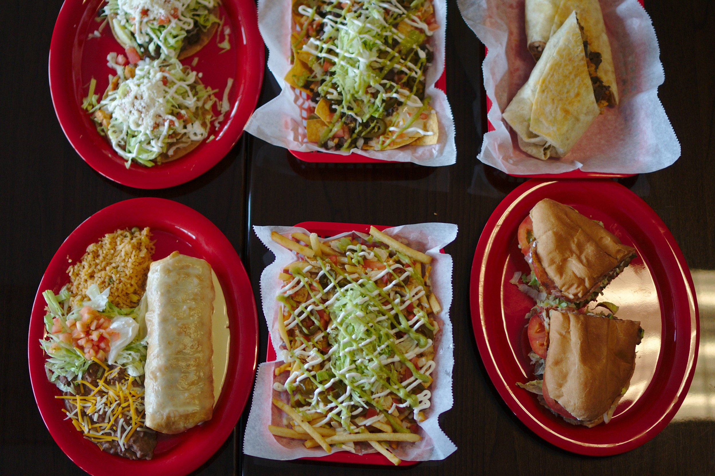 Toastadas, Chimichanga, Nachos, Queso Fries, Burrito and Tortas