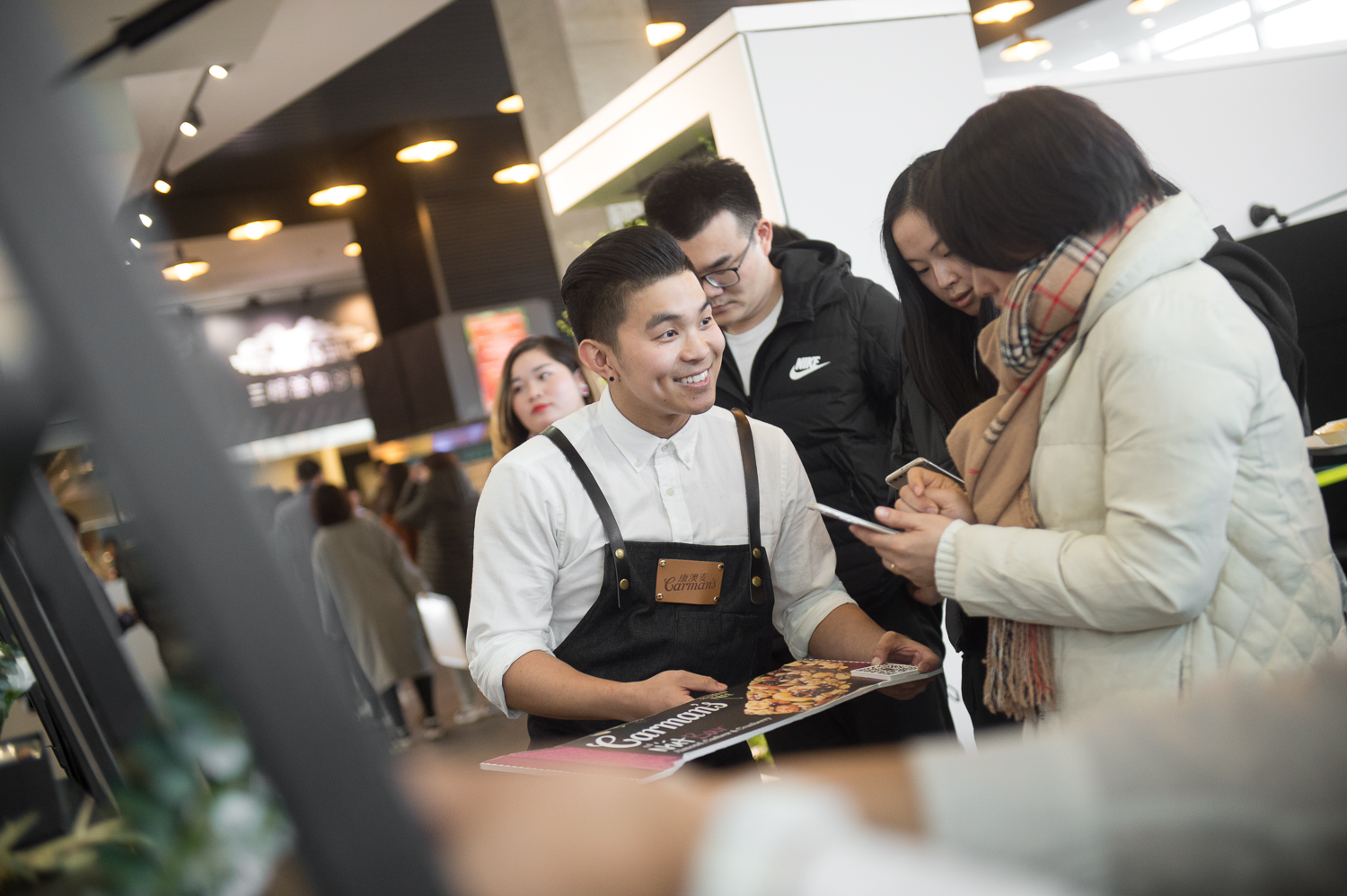 IDEA - To capture the attention of millennial staffers with a photo-worthy pop up experience- Engage top workplaces in Shanghai as venue partners - Build pop up cart + curate branded gift boxes for guests- Guests engage with high caliber brand ambassadors and premium positioning of Carman's hero product- Scan QR code to follow Carman's Wechat account for gifts - Create captivating content for social channels