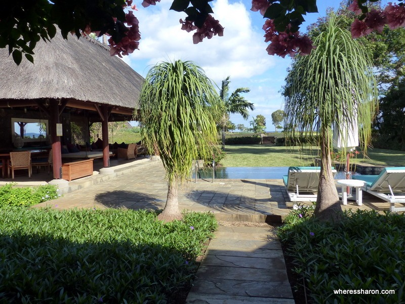 The backyard of one of the villas