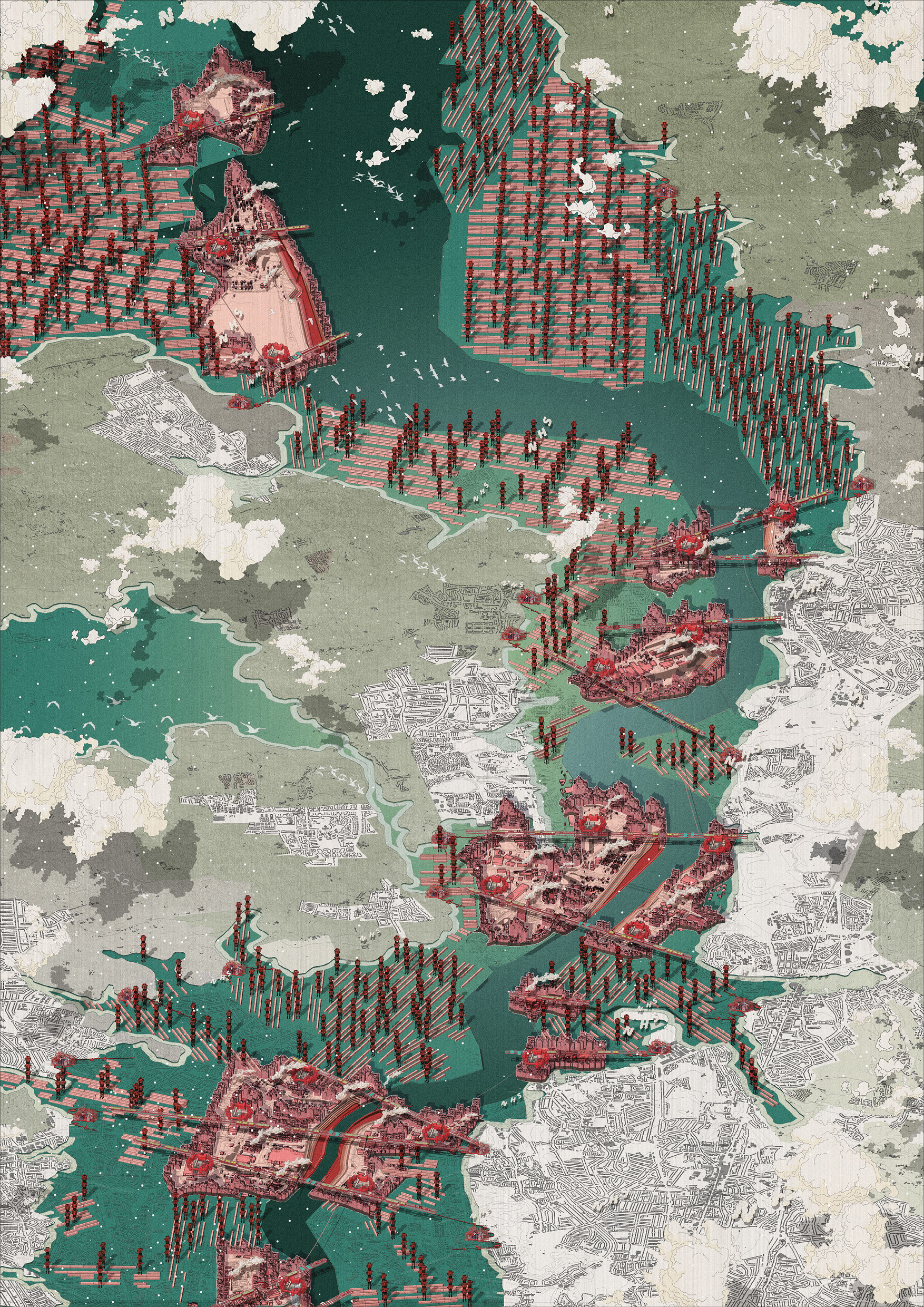 Masterplan Isometric.  View looking East along the sea level rise inundated Thames Estuary populated with Labour Citadels.