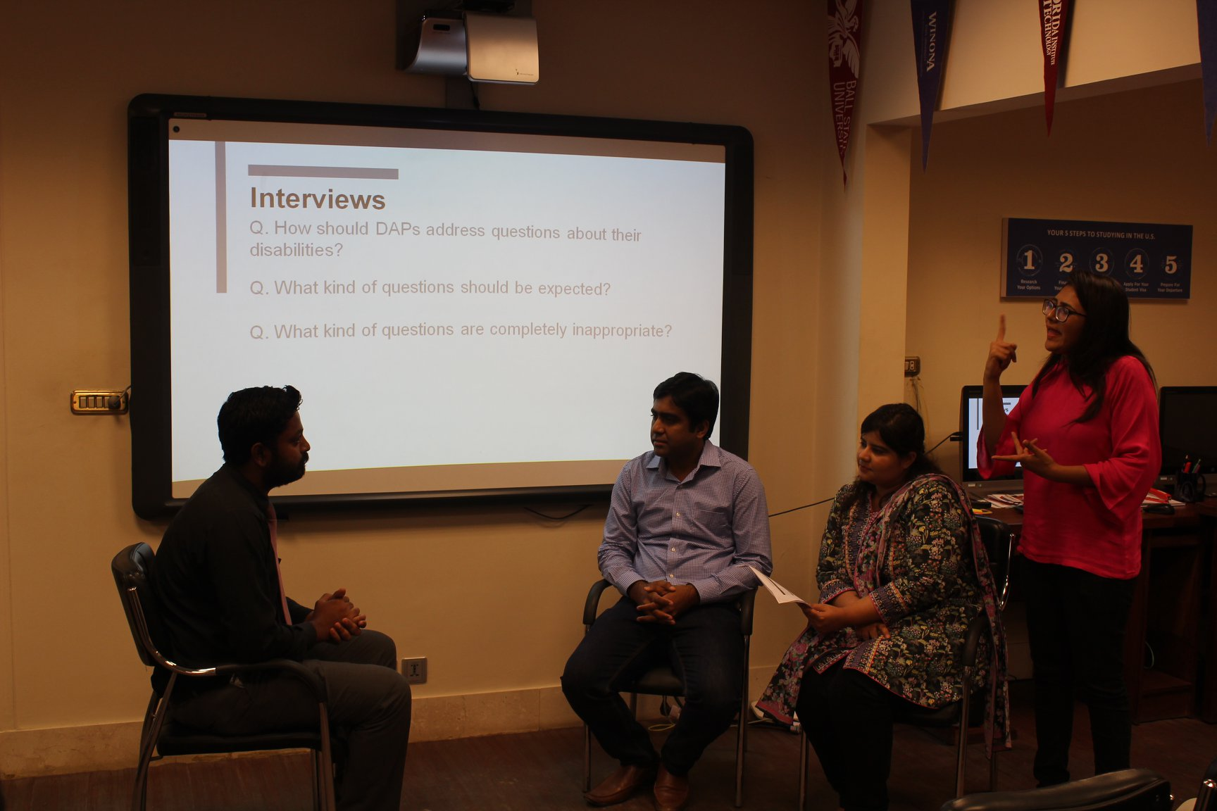 Recruiters from Nestle and Business Partnerz conducting a mock interview