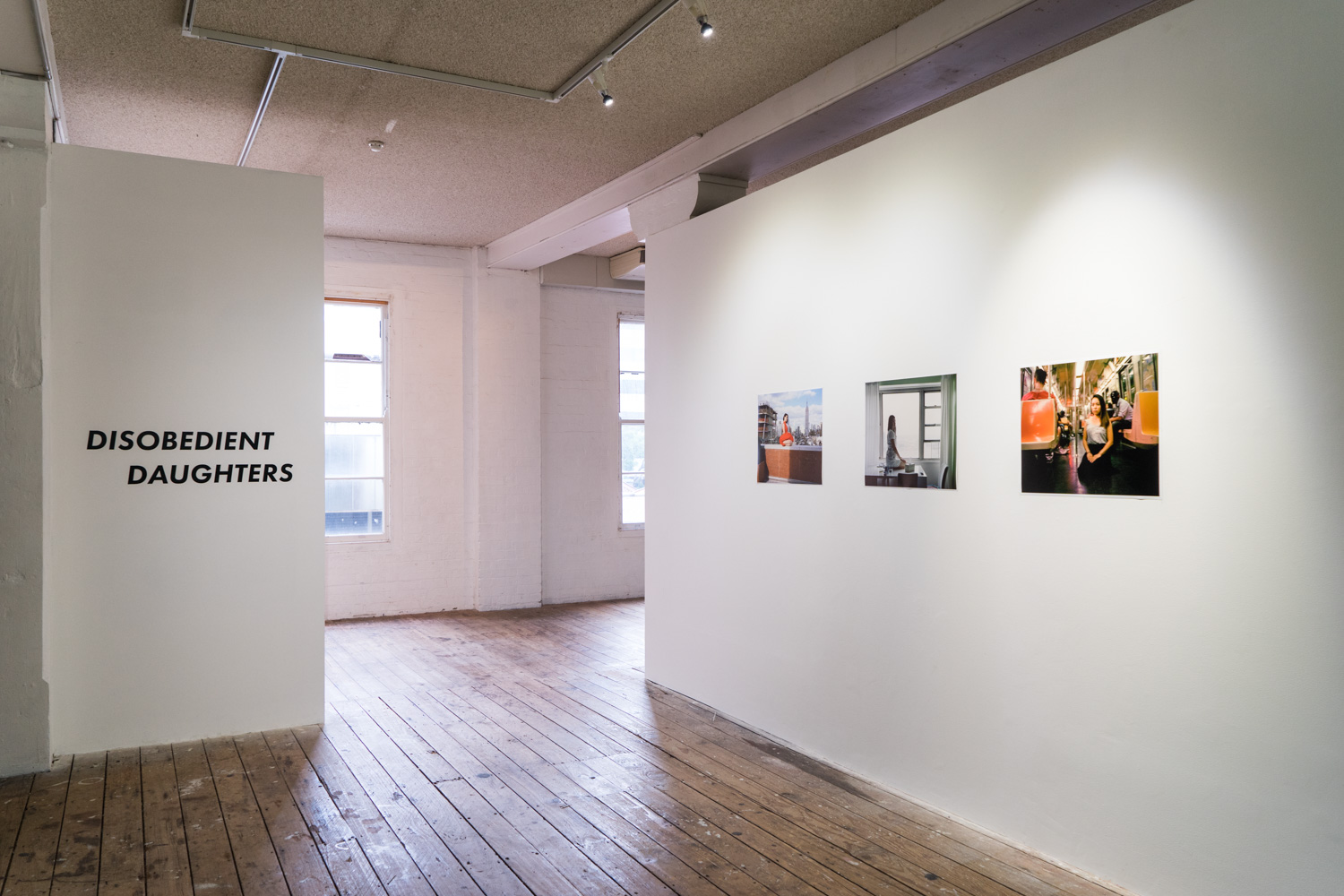 Mihyun Kang,  You are not speaking but I am listening,  2013 - 14, photo series, installation view,  Disobedient Daughters,  2018, Metro Arts, Brisbane. Photo: Louis Lim.