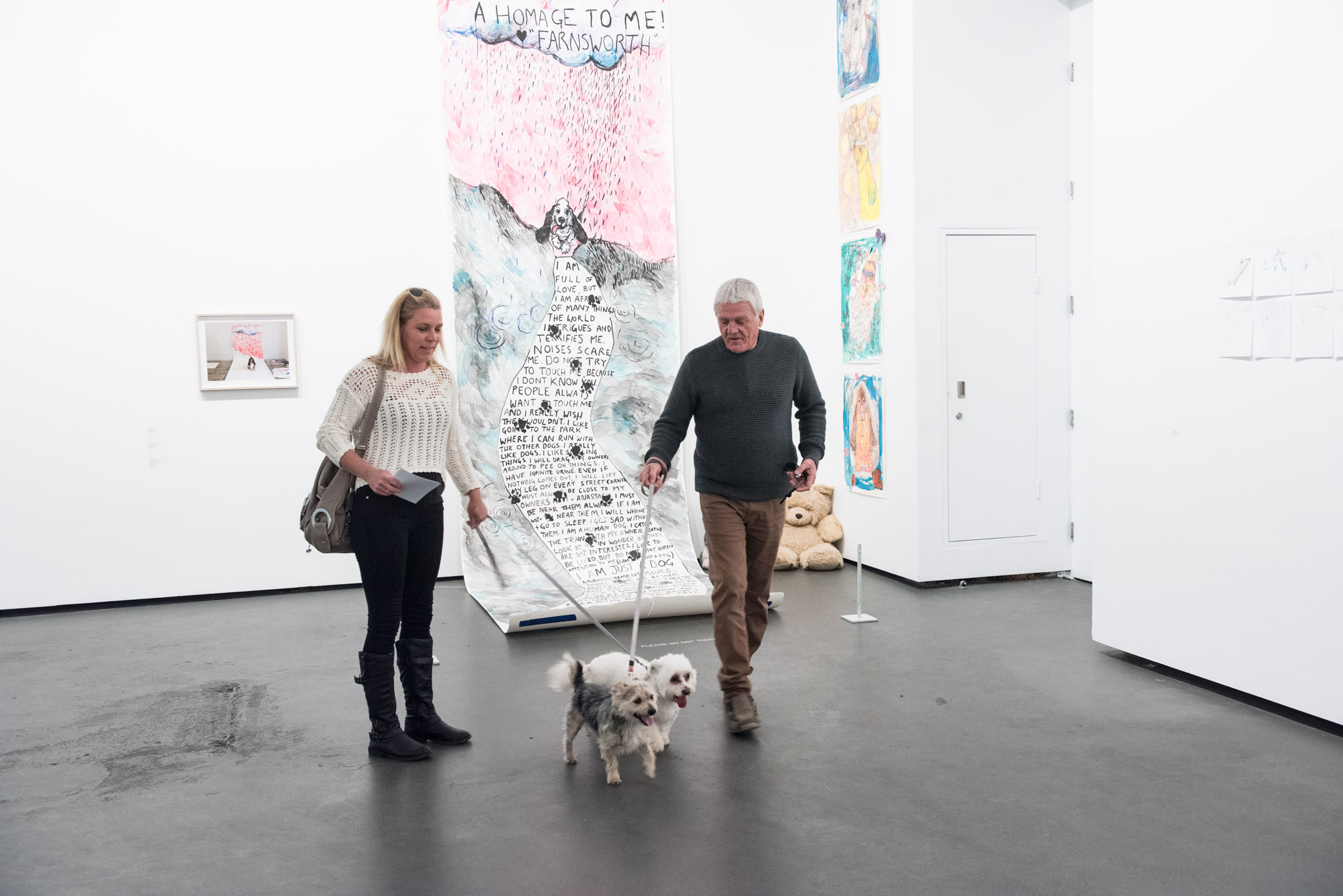 Visitors at the exhibition launch,  Every Dog Will Have its Day,  2017, Casula Powerhouse Arts Centre, Sydney. Photo: Hamish Ta-Me