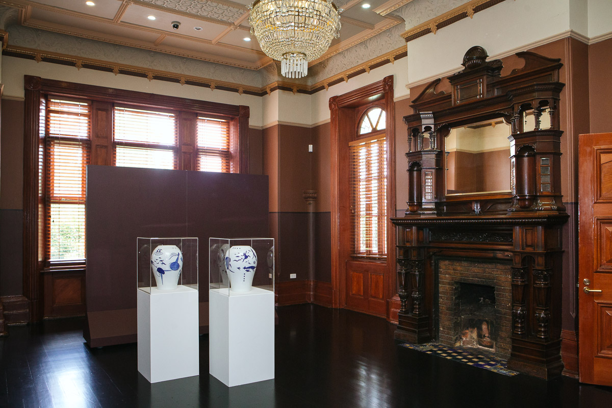 Guan Wei, installation view,  Closing the Distance,  2017, Bundoora Homestead Art Centre. Photo: Nicola Dracoulis.