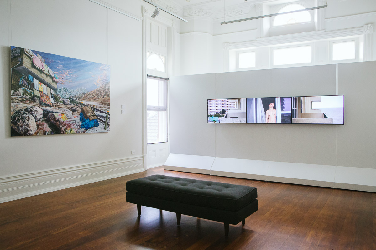 Kevin Chin and Shen Wei, installation view,  Closing the Distance,  2017, Bundoora Homestead Art Centre. Photo: Nicola Dracoulis.