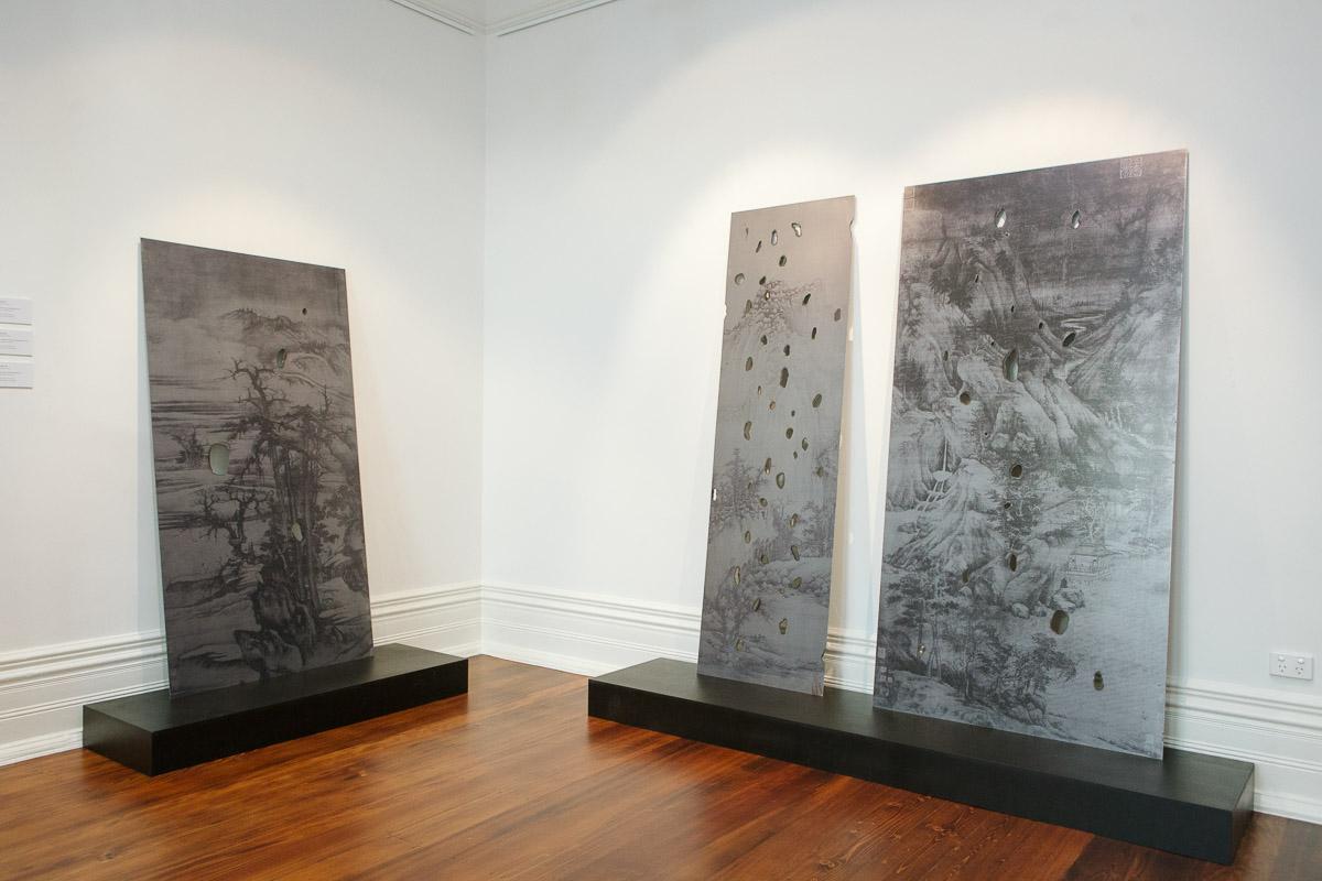 Lindy Lee, installation view,  Closing the Distance,  2017, Bundoora Homestead Art Centre. Photo: Nicola Dracoulis.
