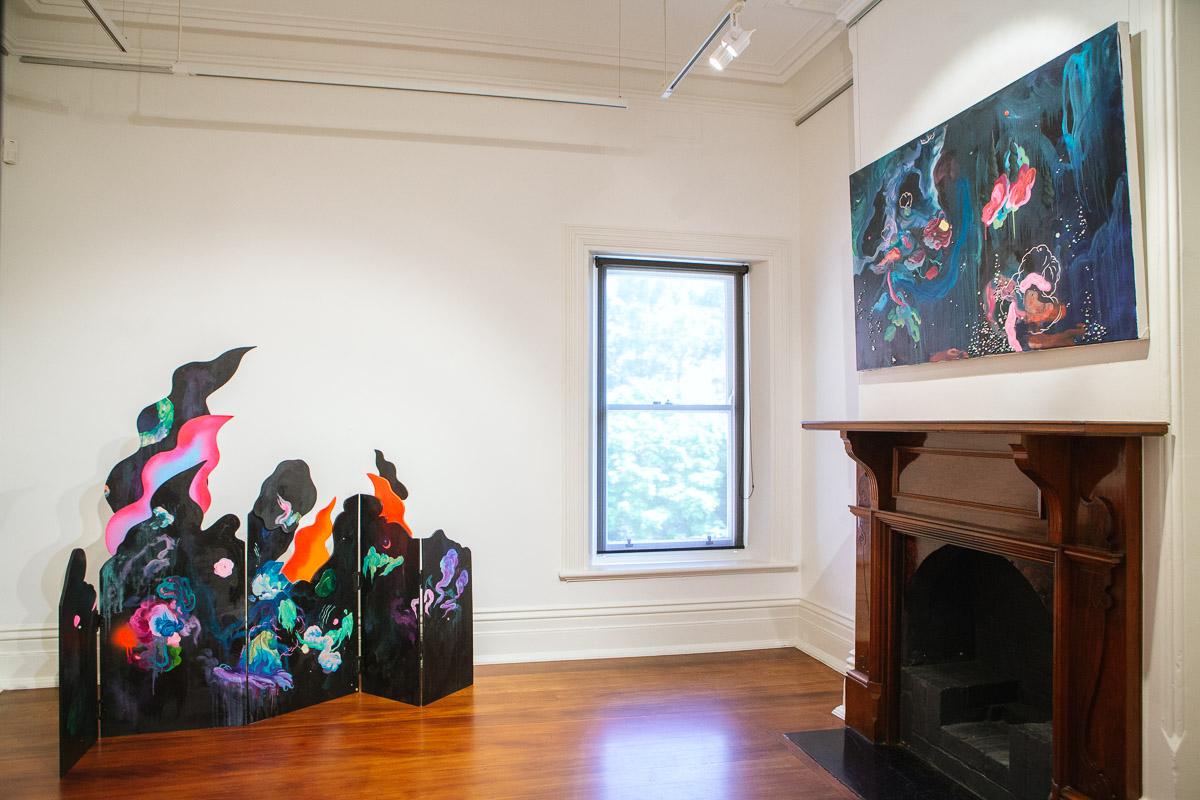 Louise Zhang, installation view,  Closing the Distance,  2017, Bundoora Homestead Art Centre. Photo: Nicola Dracoulis.