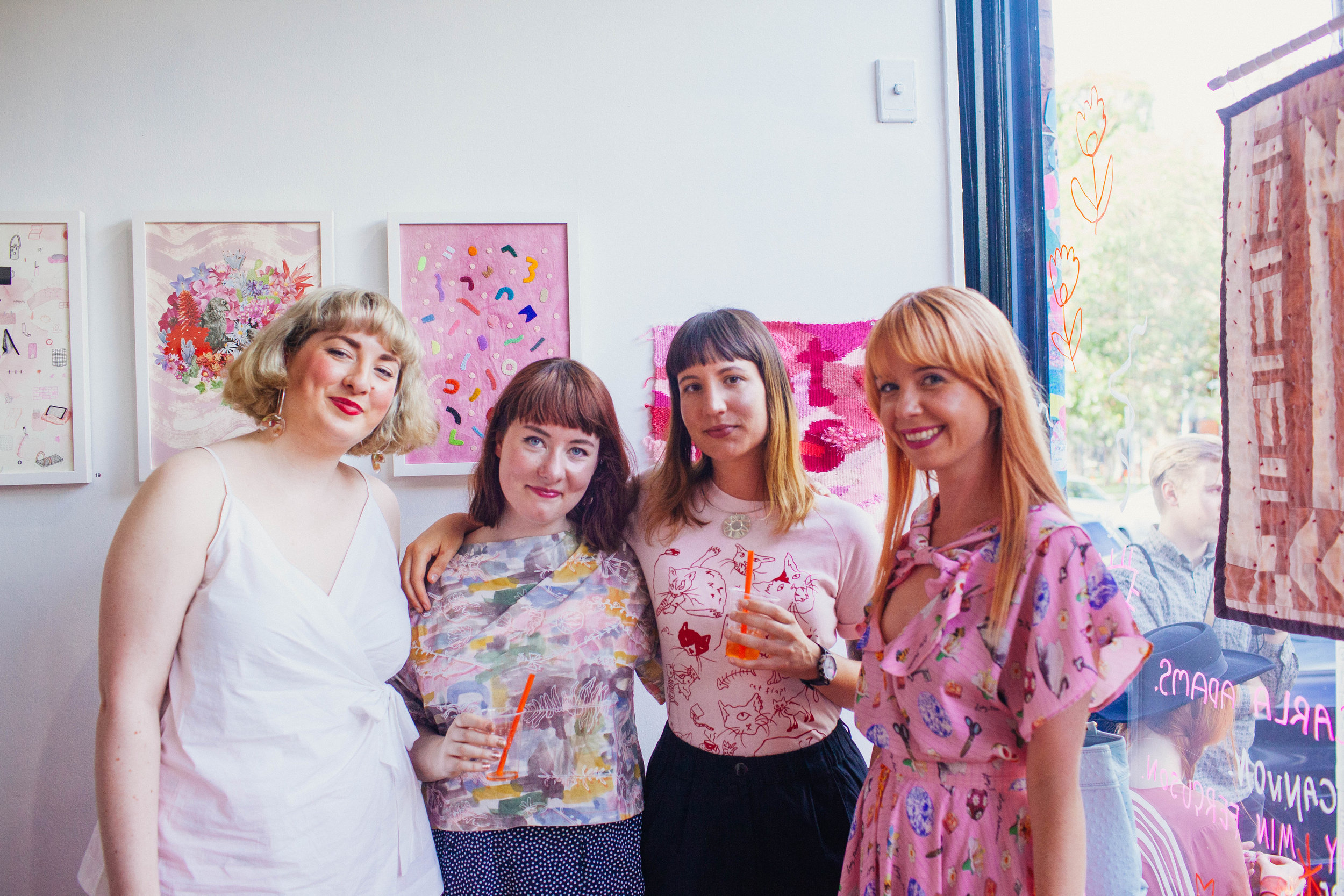 Artists at opening of  Think Pink,  2016, ENOUGH Space, Melbourne. Photo: Zoe Harriet.
