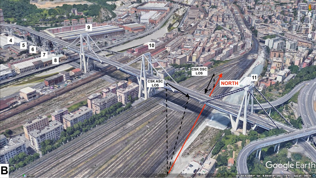 The Morandi Bridge before its collapse. New satellite radar imaging can show the movement of structures with millimetre accuracy. Credit: Remote Sensing