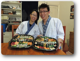 """""""   So.much.sushi ! It was lovely to be welcomed into such a cozy home.  We had an incredible time; Nari and Yoshi tag-teamed the sushi course  beautifully, with one teaching while the other prepared the next lesson.  Each lesson was professionally planned with nothing, time nor food,  wasted. We hope to be making sushi again (but maybe not quite so much!)  soon  Arigato!   """""""