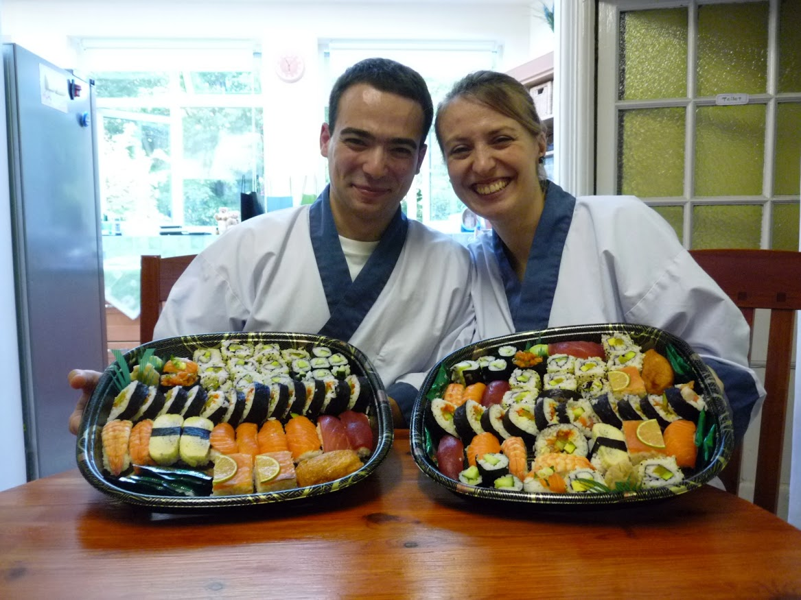 """""""We had a great time making the sushis on Sunday. It was a really good  experience, that we would love it to do again! Narihito and Yoshie are  great teachers and made it really easy for us to follow. We were able to  enjoy a wonderful sushi tray to share with our friends on that same  day! Not only we left the class with tons of sushis but we also got the  full set to make some more at home! So no excuses not to invite our  friends over for sushi-tasting party!"""" by Sophie and Matthieu"""