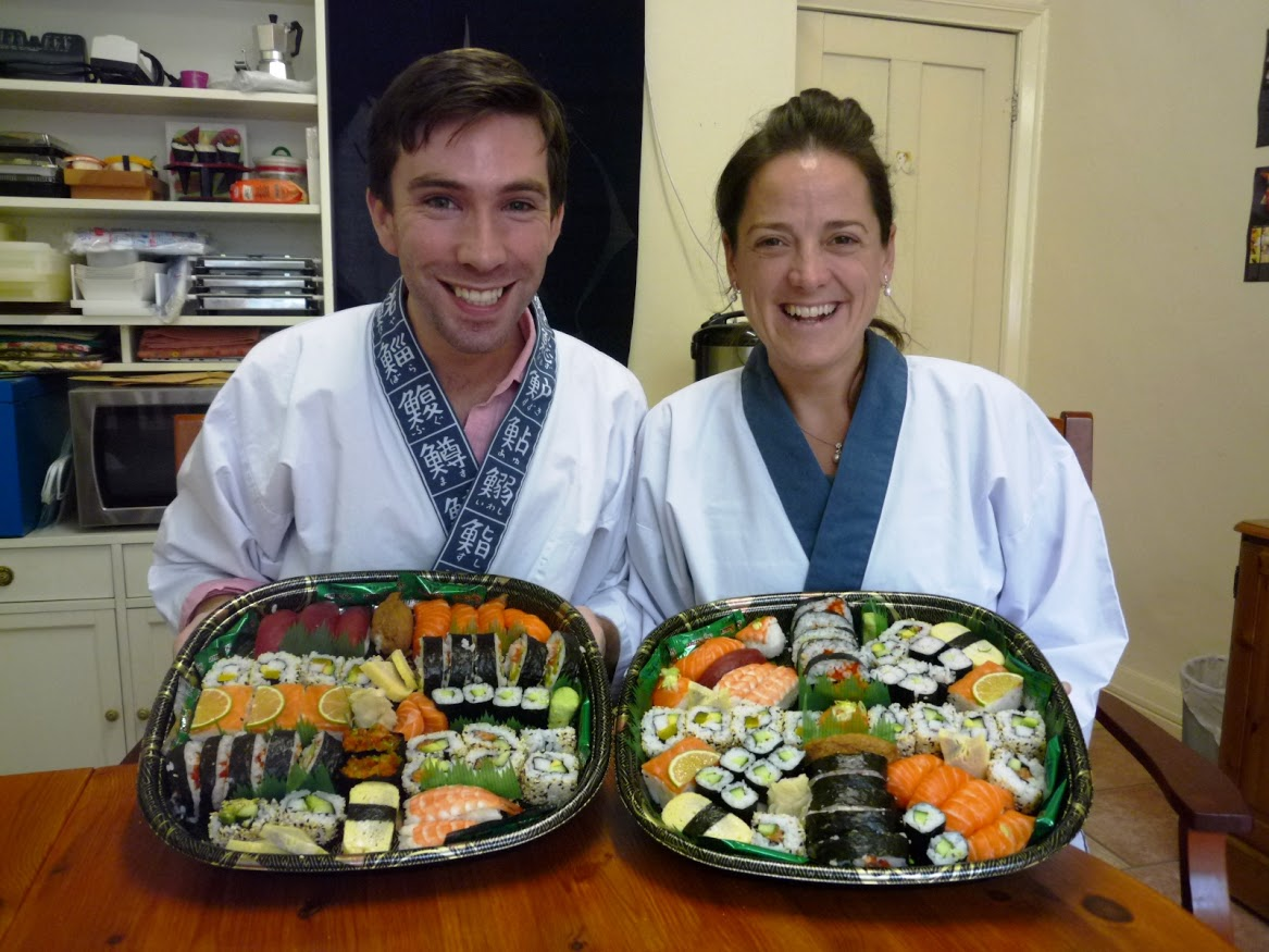 """ We both had an excellent time learning to make sushi with Narihito  & Yoshie. The class instructions were very clear and at just the  right level for us, as we were new to sushi making. We covered many  different types of sushi making and came away with trays full of  different varieties (just right for the dinner we had with friends in  the evening, who said it all tasted delicious!) We spent our class busy  trying out the various techniques invloved in sushi making and felt like  we had 3 very well spent hours, with plenty of time to try out the  methods - as well as the results of our efforts - under the careful  & friendly supervision of Narihito & Yoshie."""