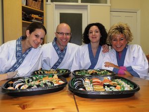 """Have you wanted to learn the skill to make the most wonderful sushi yourself in your own kitchen? Look no further than one of the best kept secrets in North London. Yoshi and Nari Matsunaga are true masters of the art and patiently guide you through the minutest details of successful cooking of sushi rice and then how to make and assemble the most authentic forms of traditional sushi. From just half a day in the privacy of their beautiful Japanese home you emerge feeling confident and furnished with the art and right ingredients and you are fully competent to make and assemble beautiful platters of sushi. In fact you will have just made this sushi yourself to take home at the end of the day to enjoy the admiration of all your friends who can share your feast and your new found skill. It feels like being admitted into an elite club and you get the certificate to prove it."""