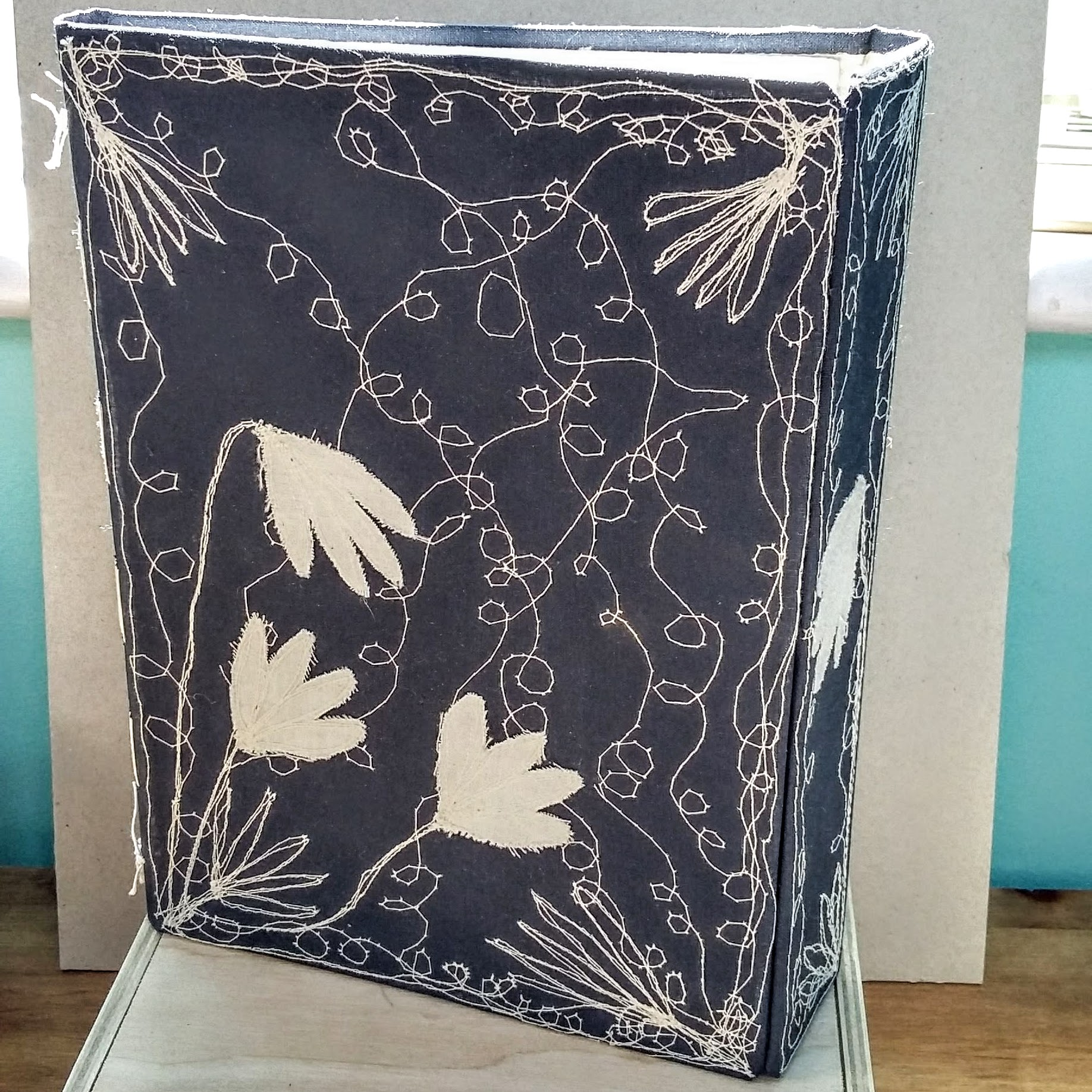 Blue with white flowers book, with magnet closure. 16 x 22 cm. 64 sides, 32 pages. £40 plus p&p