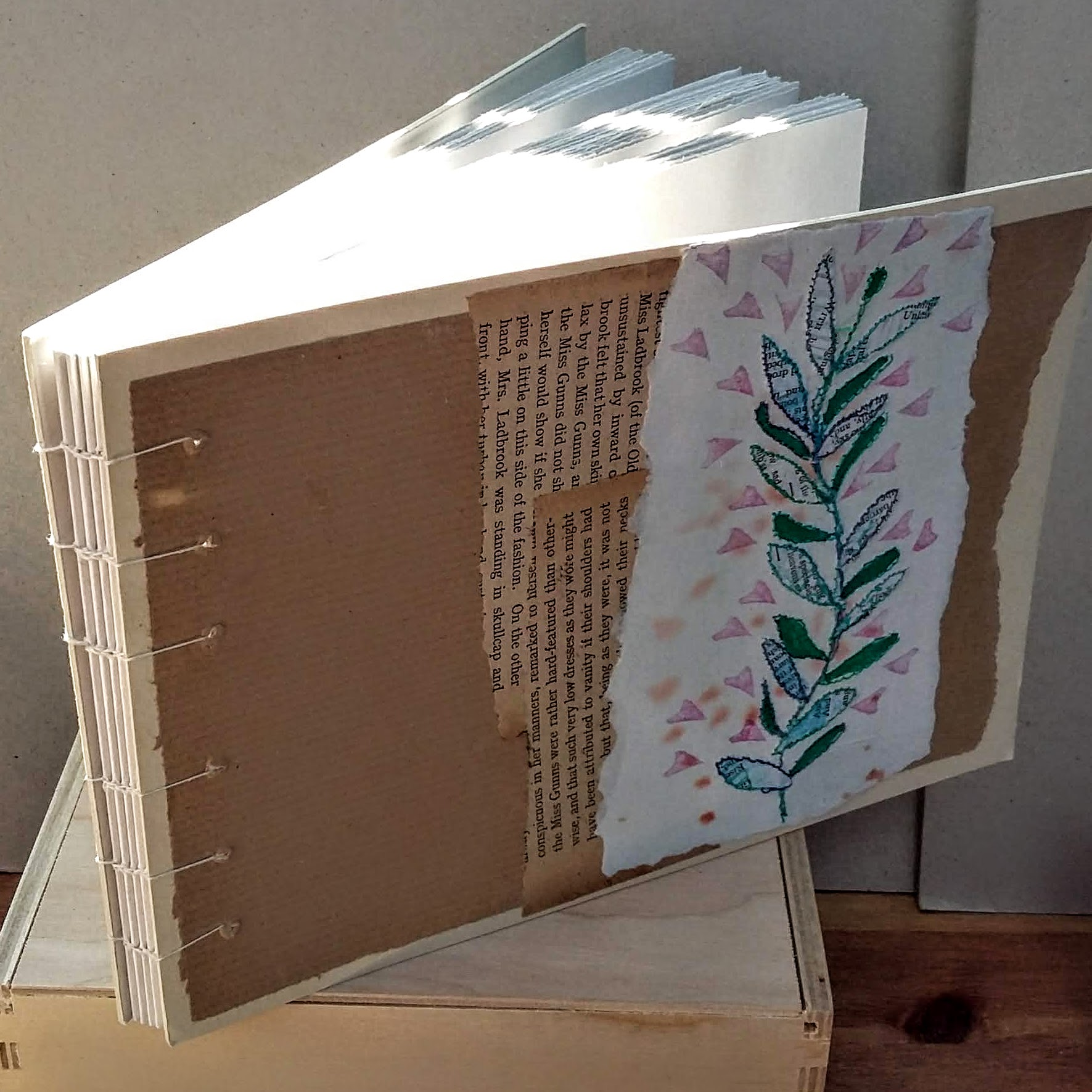 Landscape leaves book with coptic spine. 21.5 x 15 cm. 96 sides 48 pages. £34 plus p&p