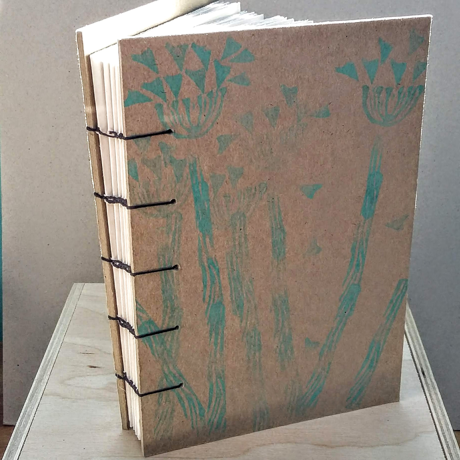 Green seeds book with coptic spine A6 size. 11 x 16 cm. 128 sides 64 pages. £30