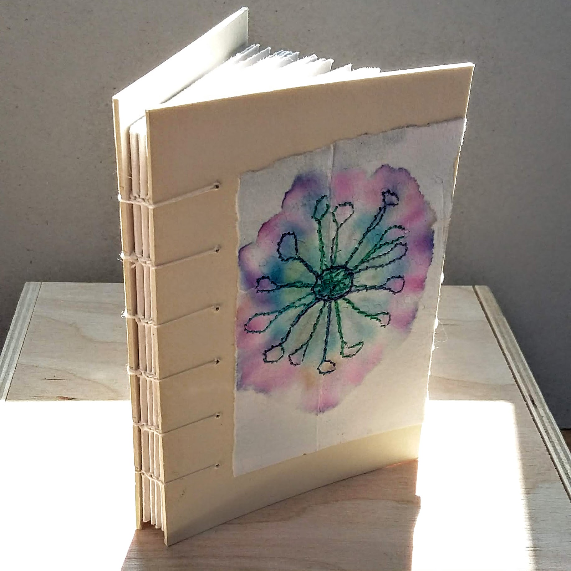 Flower coptic spine book. 8 x 11.5 cm. 64 sides 32 pages. £14 plus p&p