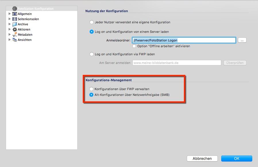 Im Konfigurations-Management kann zwischen Verwaltung über FWP und Verwaltung über Netzwerkfreigabe (SMB) umgeschaltet werden.