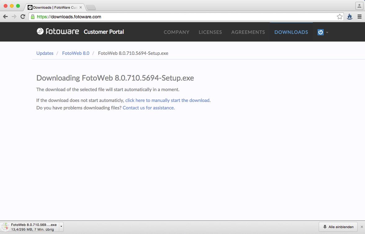 Der Download startet nun automatisch.