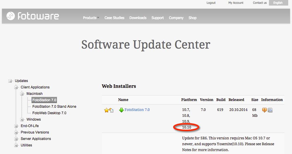 Rechts finden Sie, sofern die Downloadberechtigung besteht (Garantiezeit oder gültiger SMA liegen vor) die aktuelle FotoStation 7.0, Build 619 vom 20.10.2014.