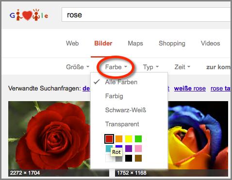 Und wir wollten eine rote Rose, also am besten auch die Farbe einschränken.