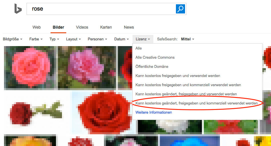 """Die Wahl des Eintrags """"Kann kostenlos geändert, freigegeben und kommerziell verwendet werden"""" unter """"Lizenz"""" schränkt das Suchergebnis wieder auf die frei verwendbaren Bilder ein."""