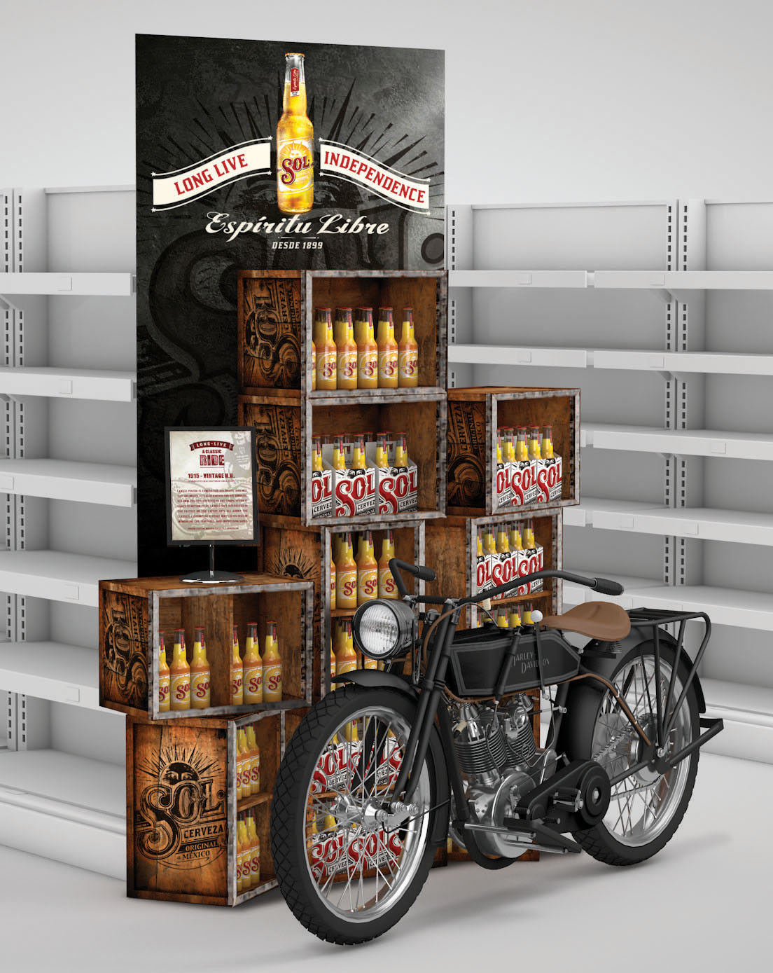 Modular display stand - Can be assembled and reassembled simply depending on space required