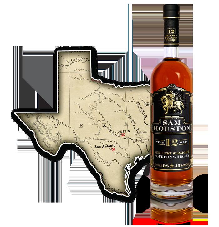 Sam Houston 12 Yr Old Bourbon Whiskey - TX
