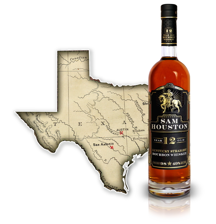 Sam Houston 12 Yr Old Bourbon Whiskey - TX