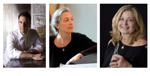 Chef Vince Muraco, pianist Diane Huling, and oboist Ellen Katz Willner.