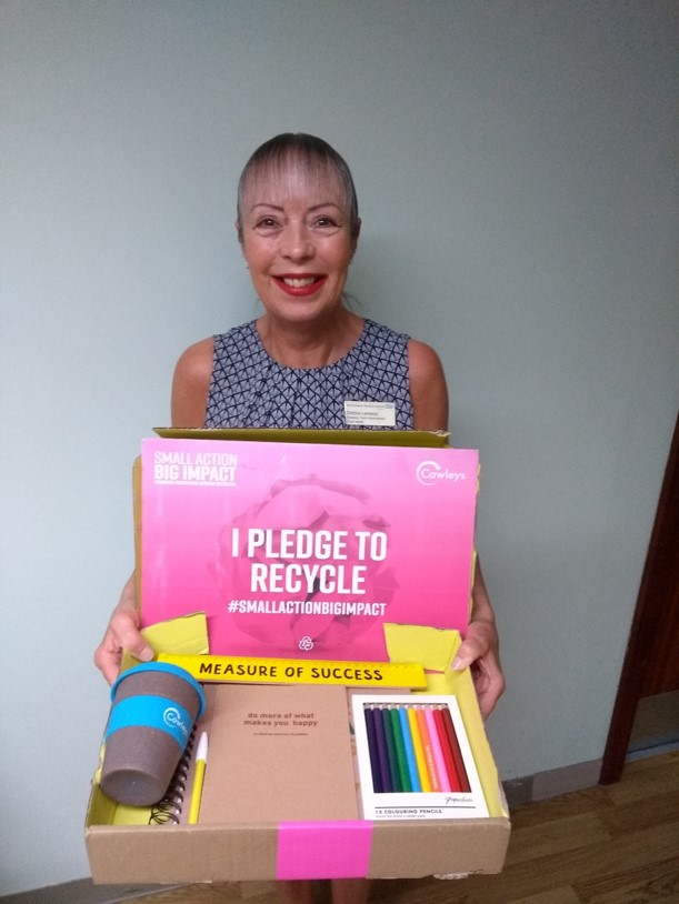 Debbie won a Paper Chase Conscious Living Set for pledging to recycle her Paper Waste. -