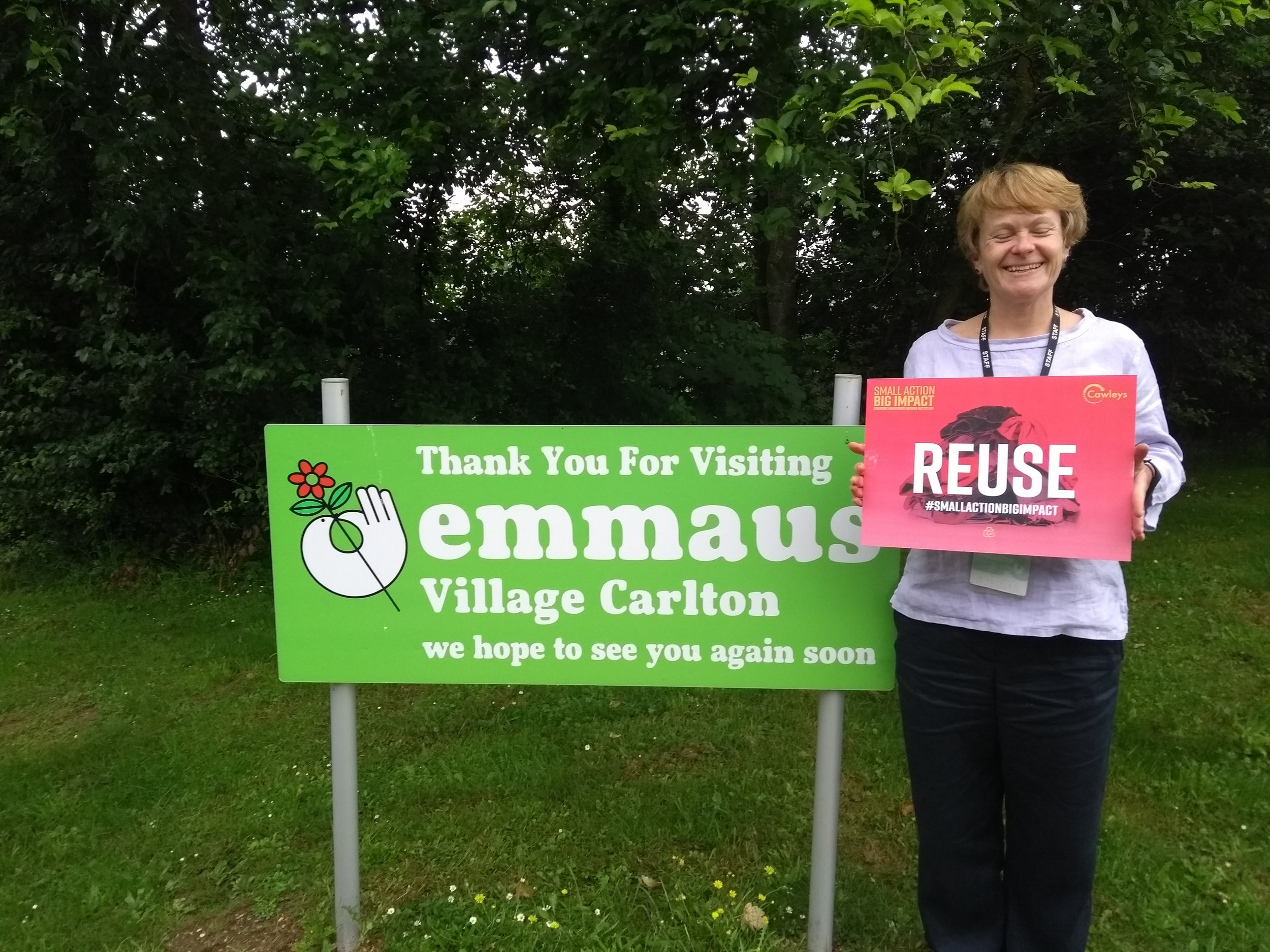 This month we have partnered with Emmaus. - Angela Foll the Community Director of Emmaus Village Carlton pictured here, pledging to Reuse.