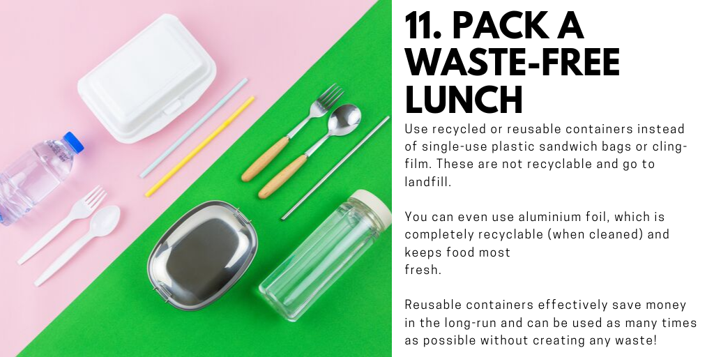 For tips, info, worksheets and more ideas on making waste-free lunches, click here for    Waste Free Lunch Resources    !