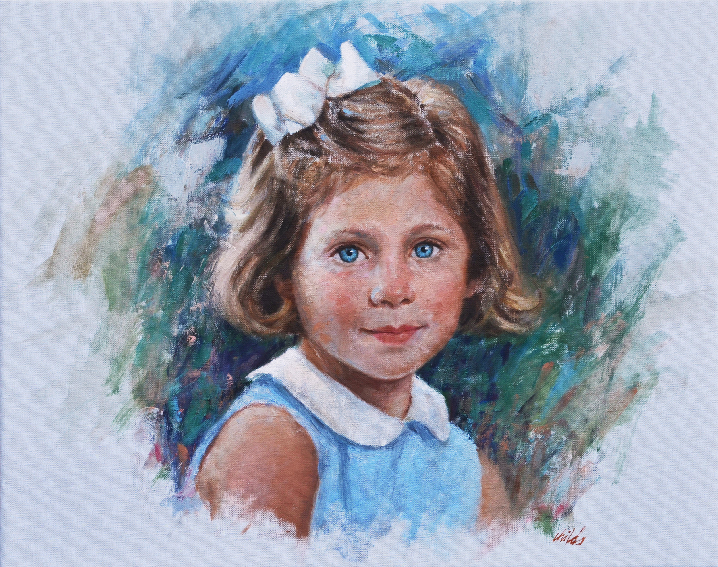 Girl with Blue Eyes & White Bow - 20x16