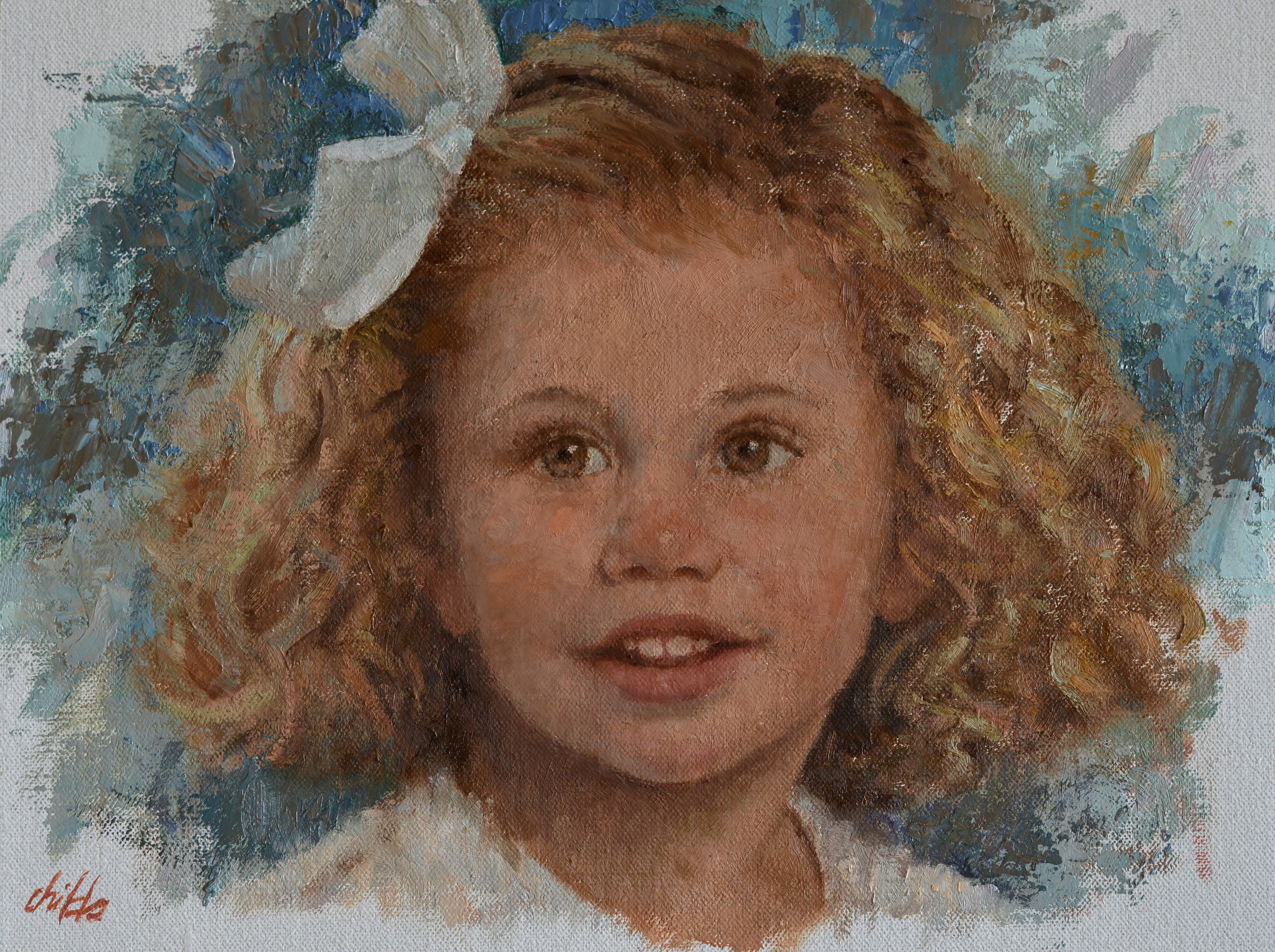 Girl with Curly Hair & White Bow - 9x12