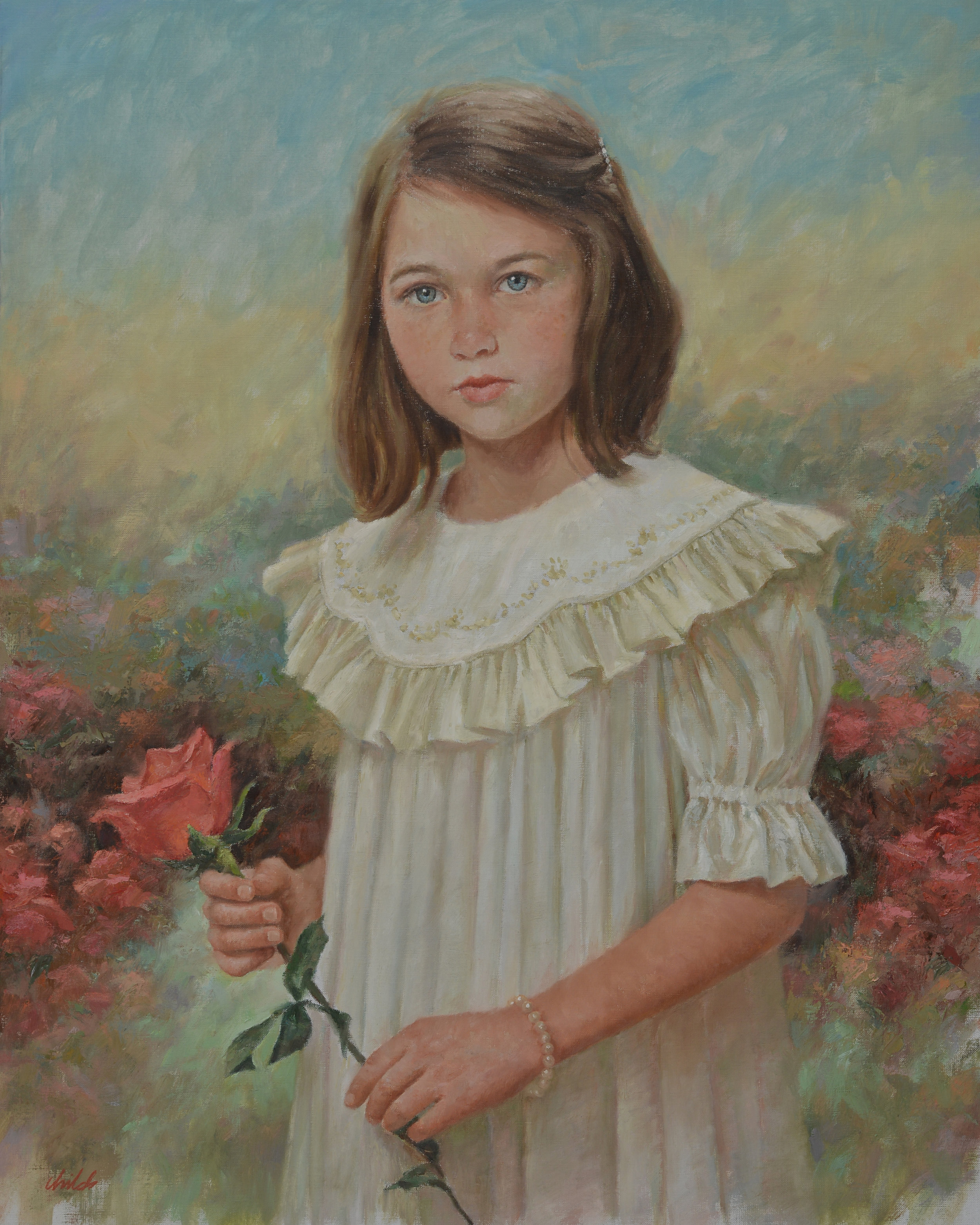 Girl in White Dress & Flower - 24x30