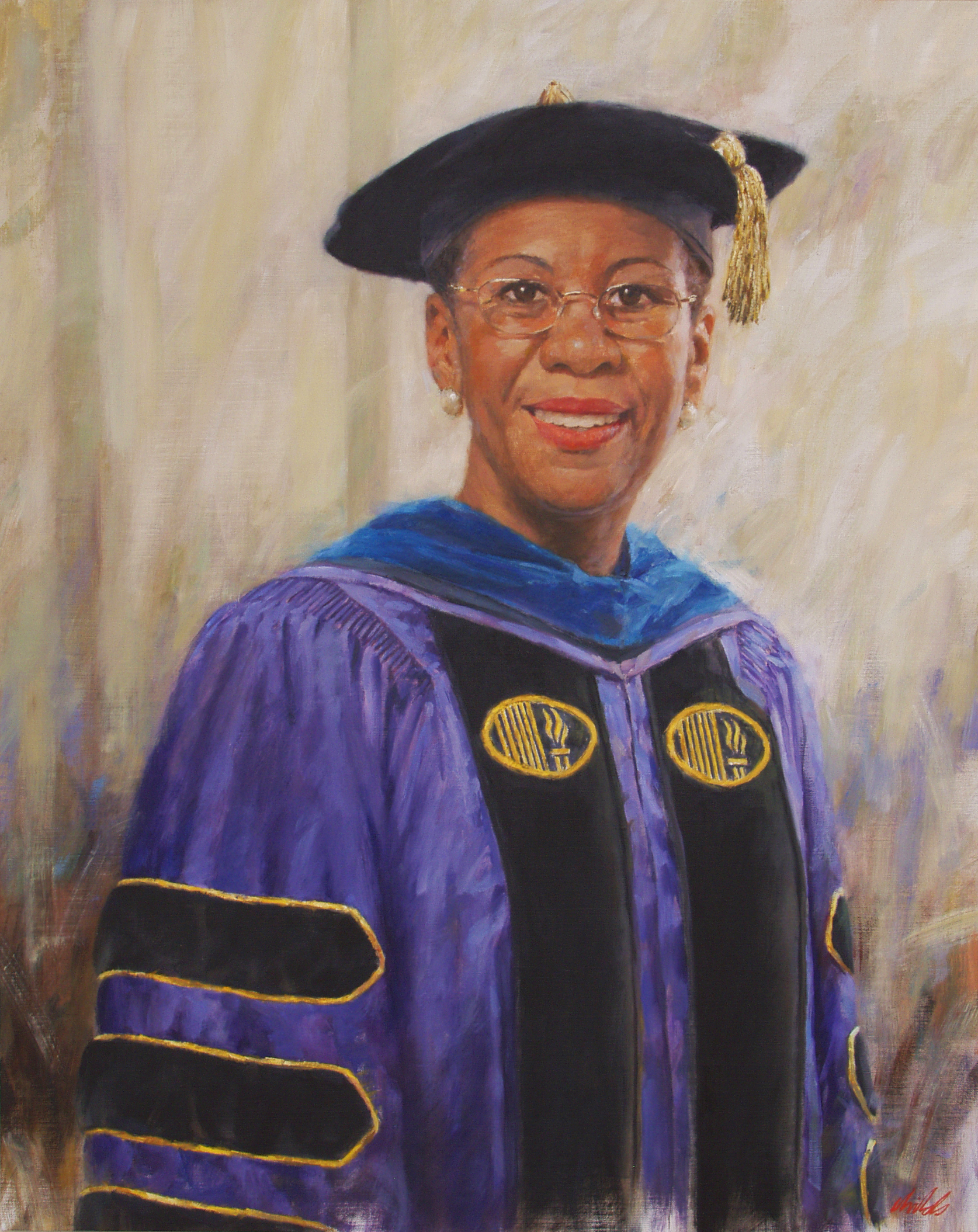 Woman in Purple College Cap & Gown - 30x24