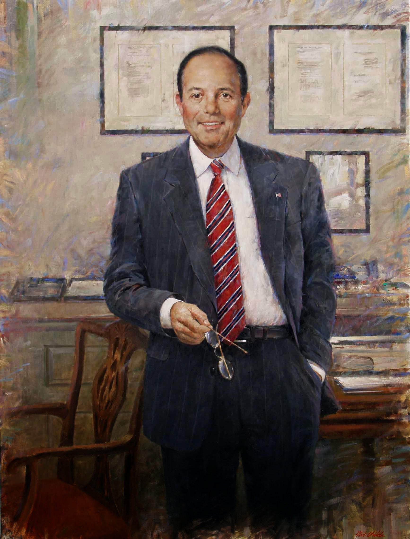 Man Standing in Office Holding Glasses - 38x48