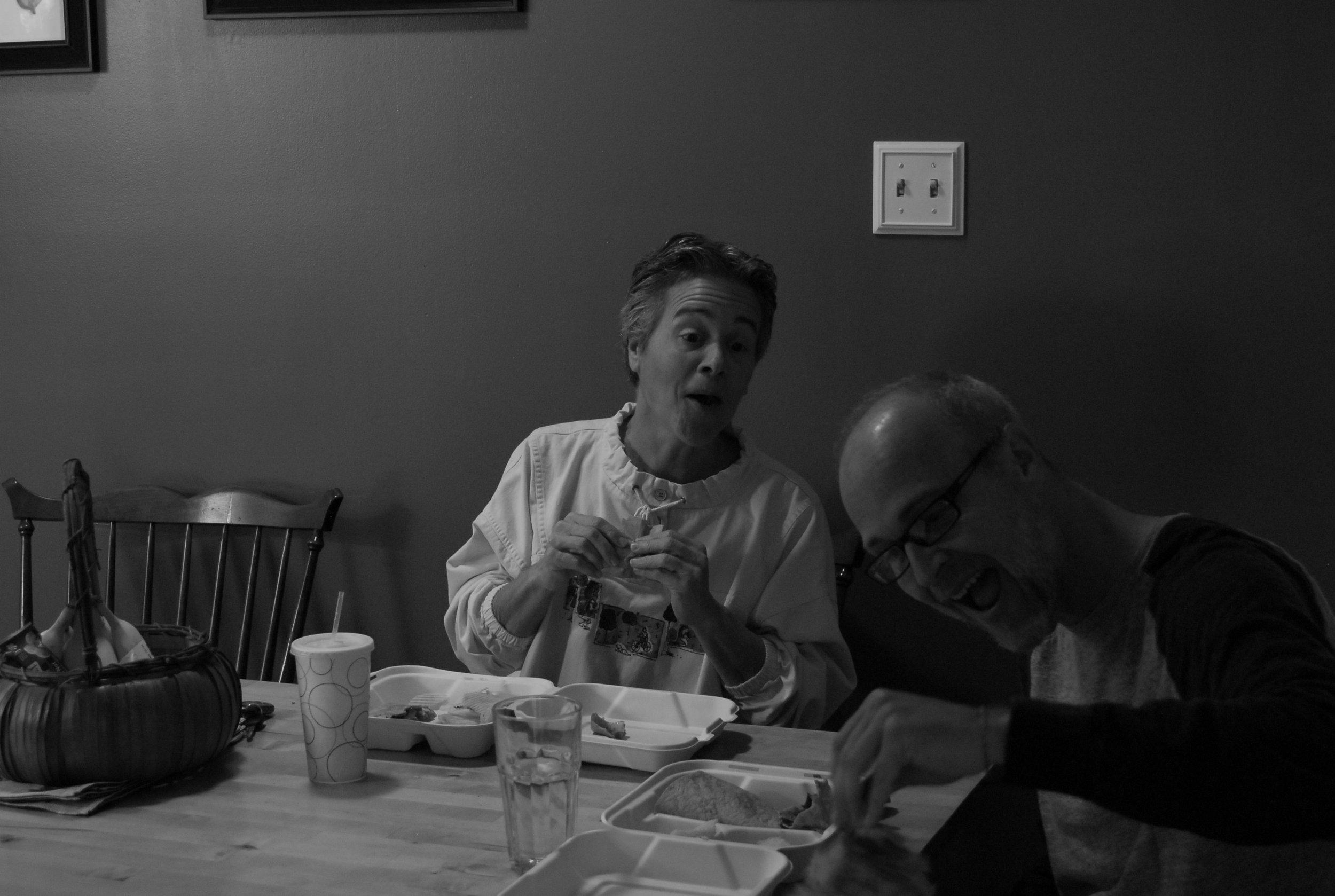 Lori and Buck having a laugh
