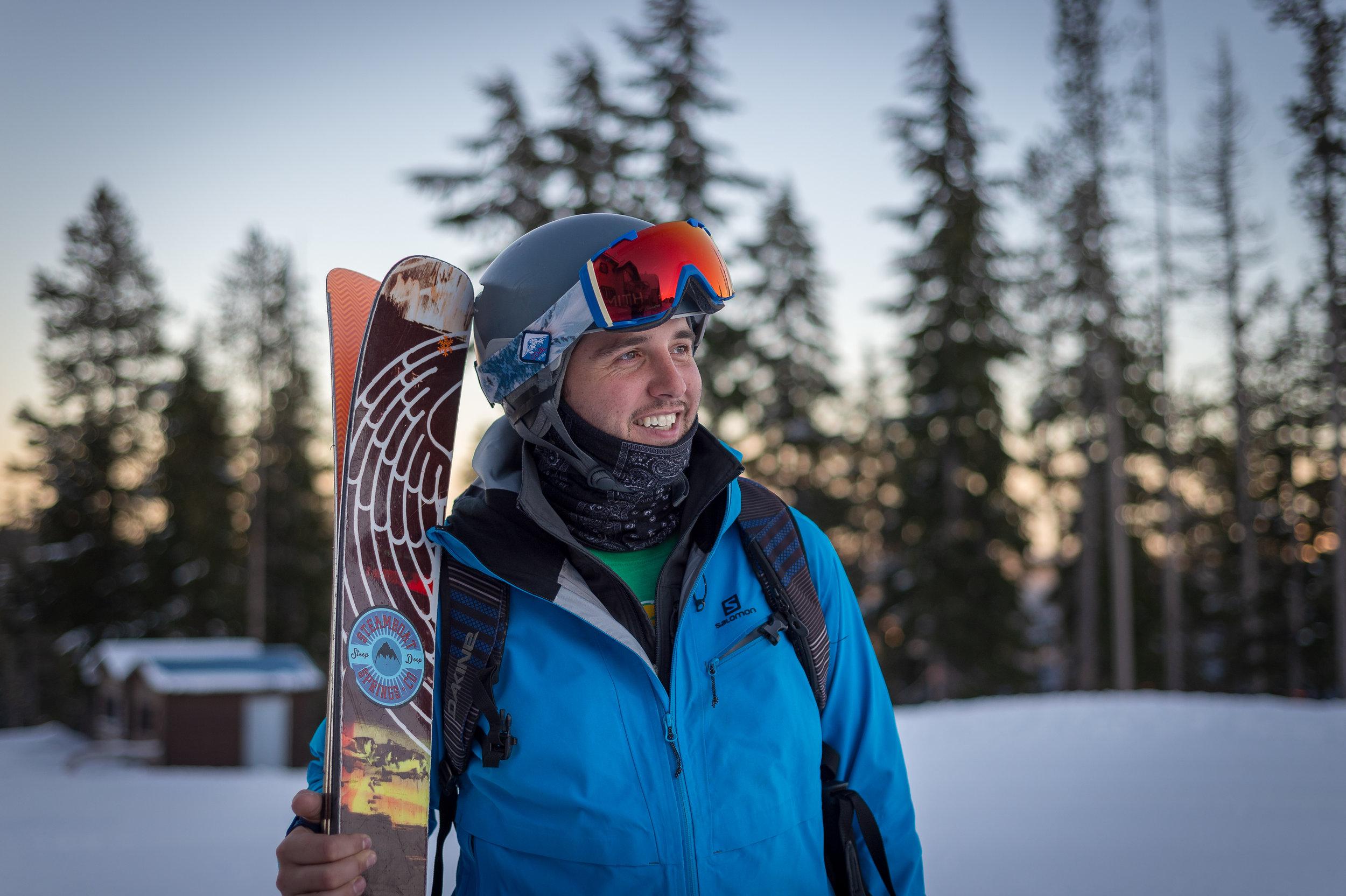 Last light on the mountain. Skier: Casey Winchel.