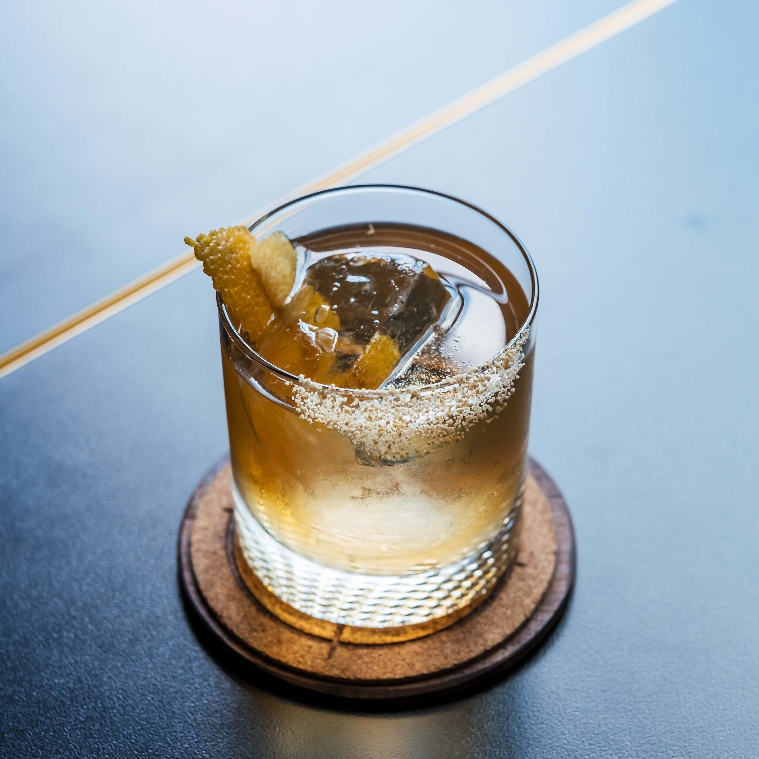 Featured Cocktail: Old 75 - with Cognac VS, champagne syrup, clarified lemon juice and Scrappy's black lemon bitters