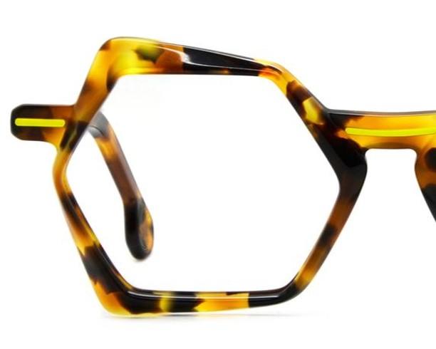 Handmade acetate frames in strikingly contemporary/classic style. Colour:  Tortoiseshell/neon yellow accent Designer: Dzmitry Samal, Paris www.eyemasters.co.uk  #Specs #Spectacles #Frames #Glasses #Eyeware #Fashion #Instafashion #Hastings #Bexhill #Rye  #Battle #tunbridgewells